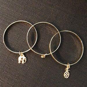 Toddler gold bracelet trio